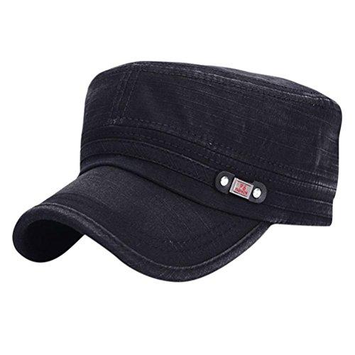 UFACEFlache Baseballmütze mit flachem Top Baseballmütze Mode Hüte für Männer (Schwarz)