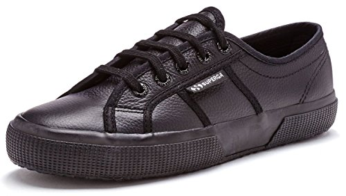 Womens Superga 2750 Ukfglu Low Top Leather Black Lace Up Plimsoll Trainer...