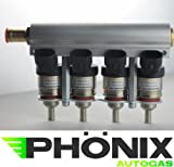 Phönix Autogas Hana Gold Einspritzdüse Einspritzrail 4-Zylinder Alu Rail inkl. Injektoren KME