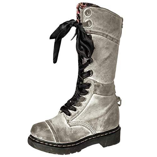 VJGOAL Damen Stiefel, Damen Chic Retro Flower Prints Militär Stiefel Casual Leder Mitte Rutschfeste Runde Toe Lace-Up Frühling Herbst Schuhe(Grau, 40 EU)