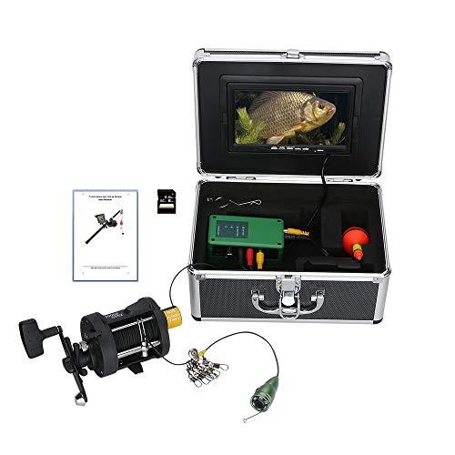 WANGOFUN Unterwasserfischerei, 7 Zoll Color LCD 15M 1000TVL DVR Video Fish Finder mit 6pcs Infrarotlampe und 8G TF Card und Sea Wheel Kit,30m Dvr Card Kit