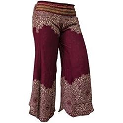 Pantalón Palazzo de pierna ancha o de campana estampado, hippy, boho, gitano, festival, hipster (Mandala Red)