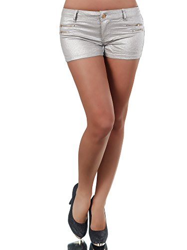 N117 Damen Jeans Hose Damenjeans Hüftjeans Hot Pants Shorts Panty Leder Look, Farben:Silber;Größen:36 (S) (Leder-shorts Denim)