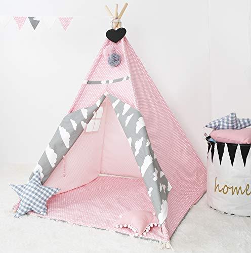 [TIPI ZELT MIT SPIELMATTE] Indianerzelt für Kinder - für Kinderzimmer - Wigwam 140x120x120cm - Tipi tent Baumwollsegeltuch - Für in und um ihr haus - mit 4 Holzstangen und Fenster - Rosa mit Zubehör
