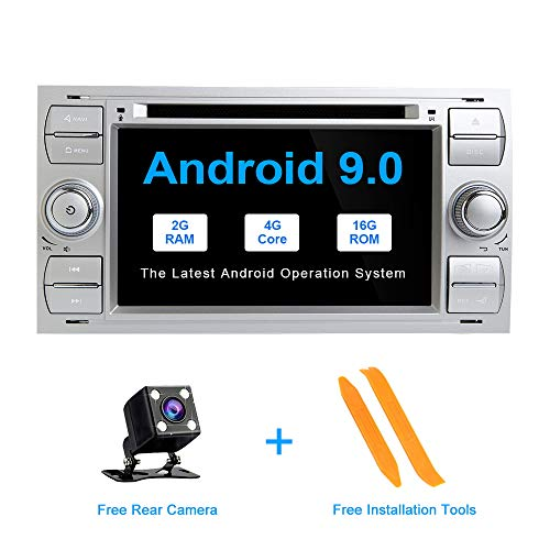 ZLTOOPAI Android 9.0 für Ford Focus Mondeo S-Max C-Max Autoradio Stereo GPS Navigation Media Player (Silber) Fusion Media Player