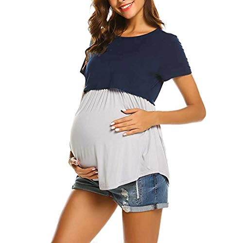 1d07497cf8 Mitlfuny Ropa premamá Tops Mujeres Embarazadas Maternidad Camisa Primavera  Verano Plisada Doble Capa Cosiendo Lactancia Materna