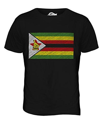 CandyMix Simbabwe Kritzelte Flagge Herren T Shirt Schwarz