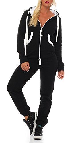 Damen Jumpsuit Jogger Jogging Anzug Trainingsanzug Einteiler Overall 9t5 schwarz M