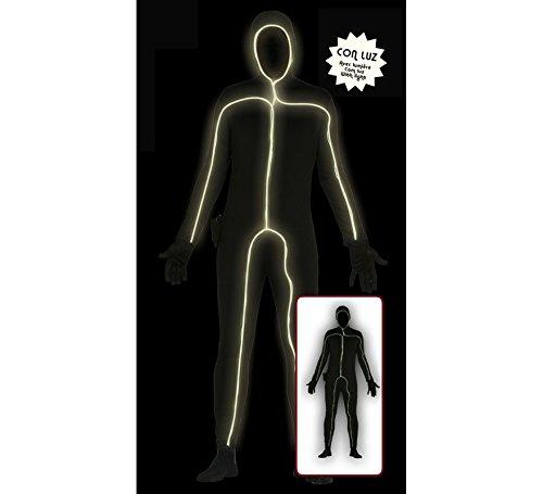 leuchtender Ganzkörperanzug Strichmännchen Kostüm Gr. M/L, - Led Licht Anzug Kostüm