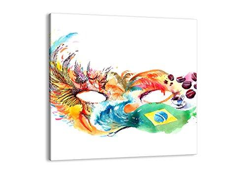 Bild auf Leinwand - Leinwandbilder - Einteilig - Breite: 70cm, Höhe: 70cm - Bildnummer 3036 - zum Aufhängen bereit - Bilder - Kunstdruck - - Rio Karneval Kostüm Bilder