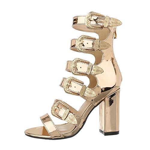 Gold Heels (Ital-Design Damenschuhe Sandalen & Sandaletten High Heel Sandaletten Synthetik Gold Gr. 38)