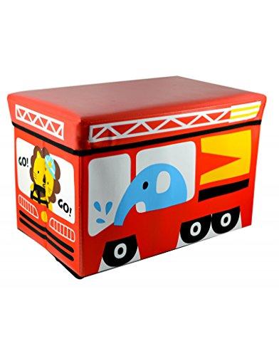 Homeline Puff-arcón plegable infantil - Modelo autobús Rojo (48x31x31 cm)