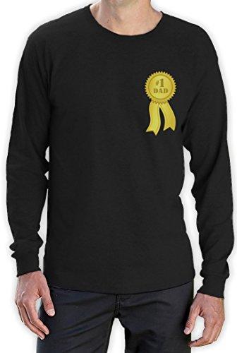 Number 1 Dad - Shirt mit Goldmedalie zum Vatertag Langarm T-Shirt Schwarz