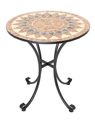 Beistelltisch mit Stein Mosaik, Ø 70 cm, Metall, schwarz, Gartentisch Balkontisch