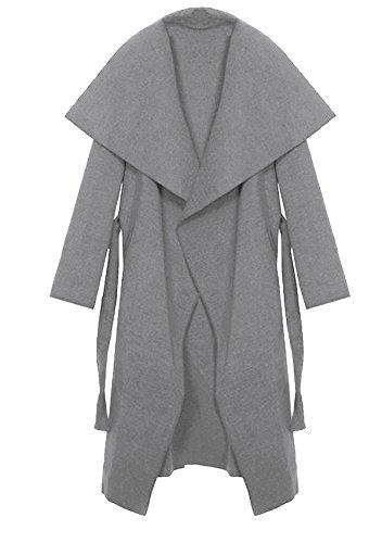 Kendindza Damen Mantel Trenchcoat mit Gürtel Onesize Lang und Kurz Hellgrau Lang