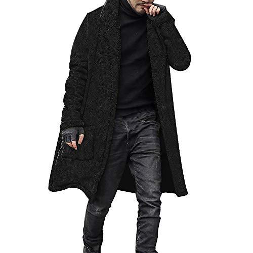 Giacca uomo invernale sportiva,moda uomo sciolto caldo cardigan peluche lungo cappotto foderato doppio petto top camicette