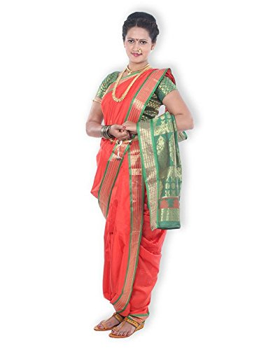 Mynauvari's Ready to Wear Stiched 9 Mtrs Brahmani Style Red Semi Silk...