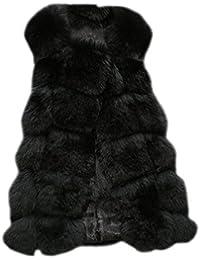 Donne Gilet di Pelliccia Sintetica Senza Maniche Giacche Cappotti Outwear