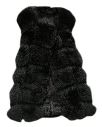 Donne gilet di pelliccia sintetica senza maniche giacche cappotti outwear nero m