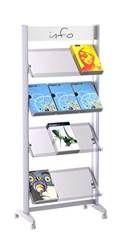 Paperflow 12.A4TT.35 Alu-Prospektständer mit 4 Plexiglas-Ablagen,12 Dokumente