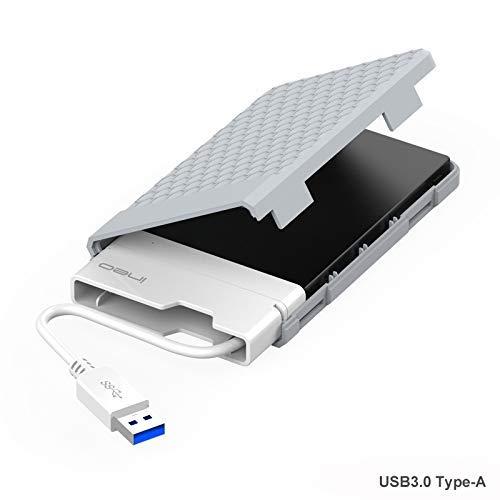 USB 3.0 Externes Festplatten Gehäuse für 2,5 Zoll Festplatte - ElecGear 2.5\'\' Festplattengehäuse 9.5mm/7mm SATA HDD SSD SSHD Adapter Caddy Hard Disk Drive Case, UASP mit integriertem USB-Typ-a-Kabel