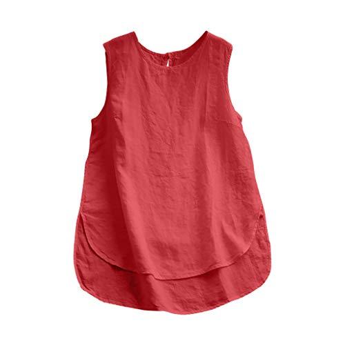 HHyyq Damen Größe Baumwolle Leinen Knopf Ärmellose Einfarbig Weste Top Pullover Shirt Frauen Ärmellose Weste Top Casual T-Shirt(Rot,XXL)