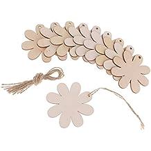 Prettyia 10 Unidades Etiquetas de Madera en Forma Flor Árbol Cuelga Adorno para Nupcias Celebración Colgante