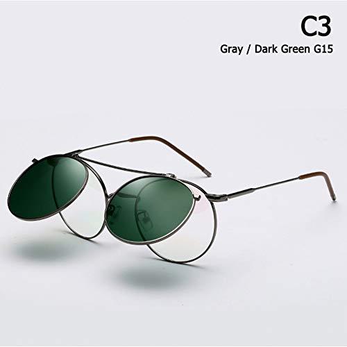 CHJKMN Runde Sonnenbrille im Metallstil zum Hochklappen, Sonnenbrille in Clamshell-Optik