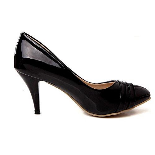 VogueZone009 Femme Couleurs Mélangées Matière Souple Stylet Tire Rond Chaussures Légeres Noir