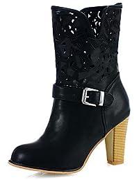 Botas de Mujer Otoño Invierno Comfort polipiel vestido Chunky talón Bowknot caminando,Negro,US8 / UE39 / UK6 / CN39