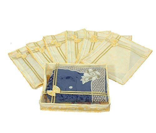 Prem Industries Special Heavy Quality Non Woven Designer Bow Saree Cover/Wedding Sarees Lahenga Cover/Wardrobe Organiser Bag Set of 7 Pcs Gold Printed (with Zip Lock) Golden Colour *Special For Womens*