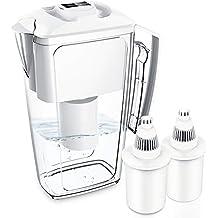 Jarra de filtros de agua alcalinos con 2 cartuchos de larga duración, 2,5