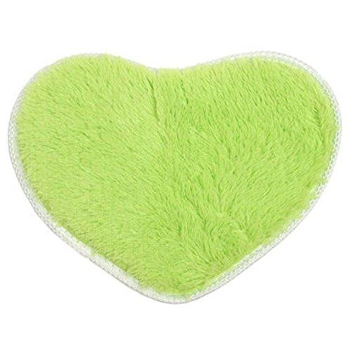 Bluelover 40x30cm cuore forma Coral velluto tappeto assorbente Anti slittamento