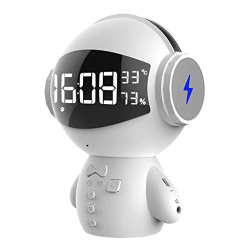 Dtuta Subwoofer,Hifi Kompaktanlagen Digital,Drahtloser Lautsprecher Des Intelligenten Roboters StüTzt Minikaraoke-Bewegliche Energie Fm-Weckertemperatur Kinderspielzeug, Geschenke FüR Liebhaber