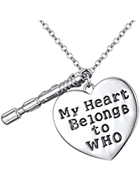 Young & Forever Exclusive Doctor Who 10th Sonic Screwdriver Interpreted Heart Necklace For Women By CrazeeMania...