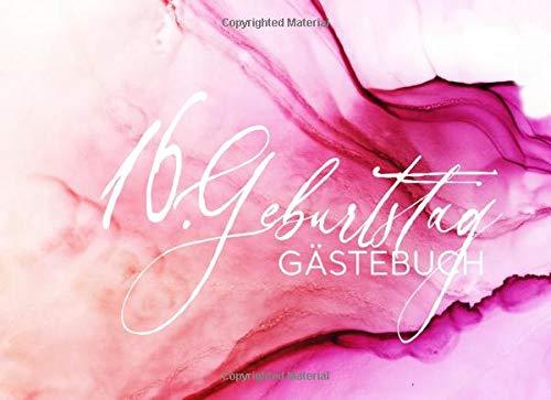ebuch: Mädchen Gäste Geburtstagsbuch Pink Hellrosa Pastell zum Eintragen Geburtstagswünsche für Geburtstagsfeier - Erinnerungsalbum 16 Jahre Liniert - Party Dekoration Buch Modern ()