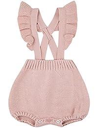 QUICKLYLY Mameluco Crochet Punto Recién Bebé Niñas Niños Elástico Peleles Mono Traje Ropa