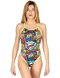 91ac3f5ee0d46 Turbo Comic Boom Revolution Thin Strap Swimsuit Women Red 2018 Schwimmanzug