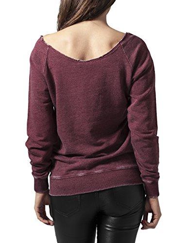 Urban Classics Ladies Burnout Open Edge Crew, Sweat-Shirt Femme Rouge - Rot (burgundy 606)