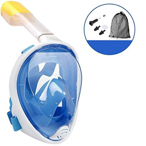 Masque de plongée Campingwise®, masque complet avec tuba. Masque de plongée en taille S / M noir avec filet et bouchons d'oreille.