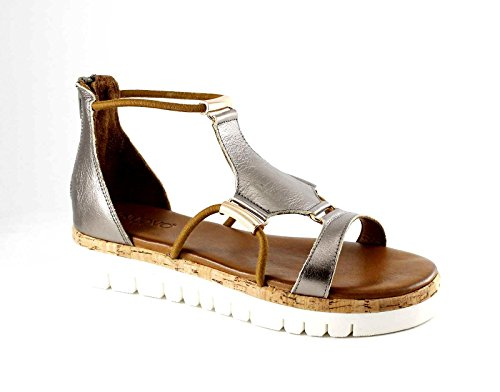 INUOVO 7903 pewter grigio sandali donna platform zip elastici pelle Grigio
