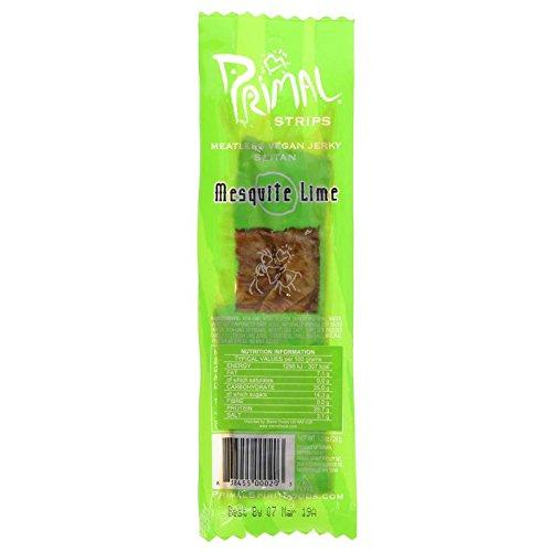 Primal Vegan Jerky | Seitan - Mesquite Lime Jerky | 6 x 28g
