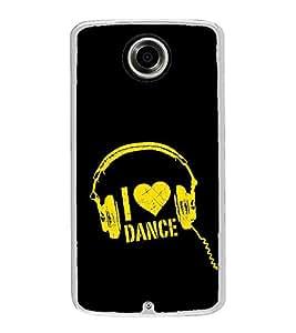 Fuson Designer Back Case Cover for Motorola Nexus 6 :: Motorola Nexus X :: Motorola Moto X Pro :: Google Nexus 6 (Love to Dance Dance Love Heart Head Phones ear Phones)