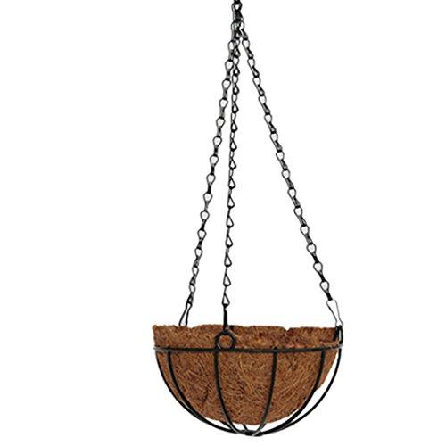 iVansa 10 Zoll (25 cm) Rund Hängender Blumenampeln aus Eisen und Kokosfaser - Hängeampeln Hängepflanztopf Design Blumenampel mit 3 Ketten