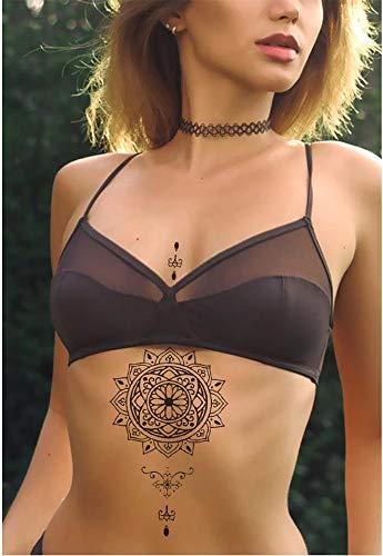 Tatuajes temporales de mandalas para hombre y mujer, tatuaje temporal, 21 x 15 cm, para brazos, piernas, pantorrillas, brazos, cuello.