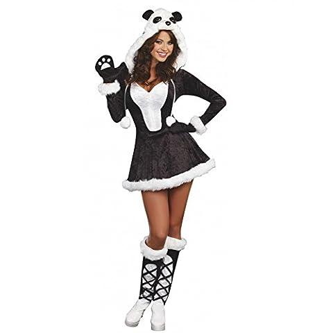 Damen Kostüm Panda, Gr. S, Kleid Stulpen Tierkostüm Pandabär
