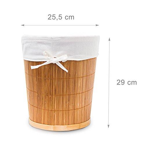 Papierkorb aus Bambus mit Stoffeinlage - 7