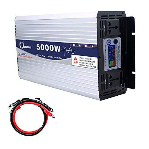XBNBQ Wechselrichter 600W 1000W 2000W 3000W 4000W 5000W 6000W Reiner Sinuswelle 12/24v auf 220v Transformator Stecker Dual USB Auto für Auto LCD Monitor, iPhone, iPad und Tablet Laptop12V-5000W