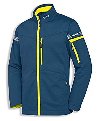 uvex Safety metal 8939 Leichte Arbeitsjacke, 60% Baumwolle, Sicherheitsjacke für Herren und Damen, auch als Freizeitjacke verwendbar, mit Reflektoren, Blau / Gelb, Größe 106/110