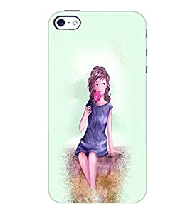 PrintDhaba Sweet Girl D-2925 Back Case Cover for APPLE IPHONE 5S (Multi-Coloured)